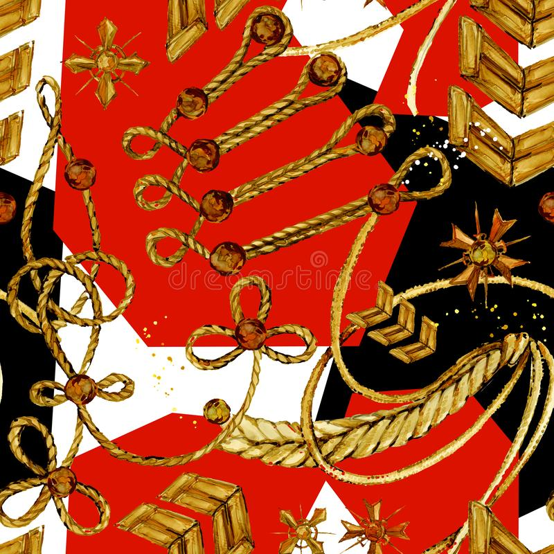 Seamless rope golden chain. aiguillette pattern. military uniform background royalty free illustration