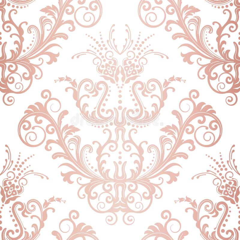 Seamless rose gold floral vintage wallpaper stock photos