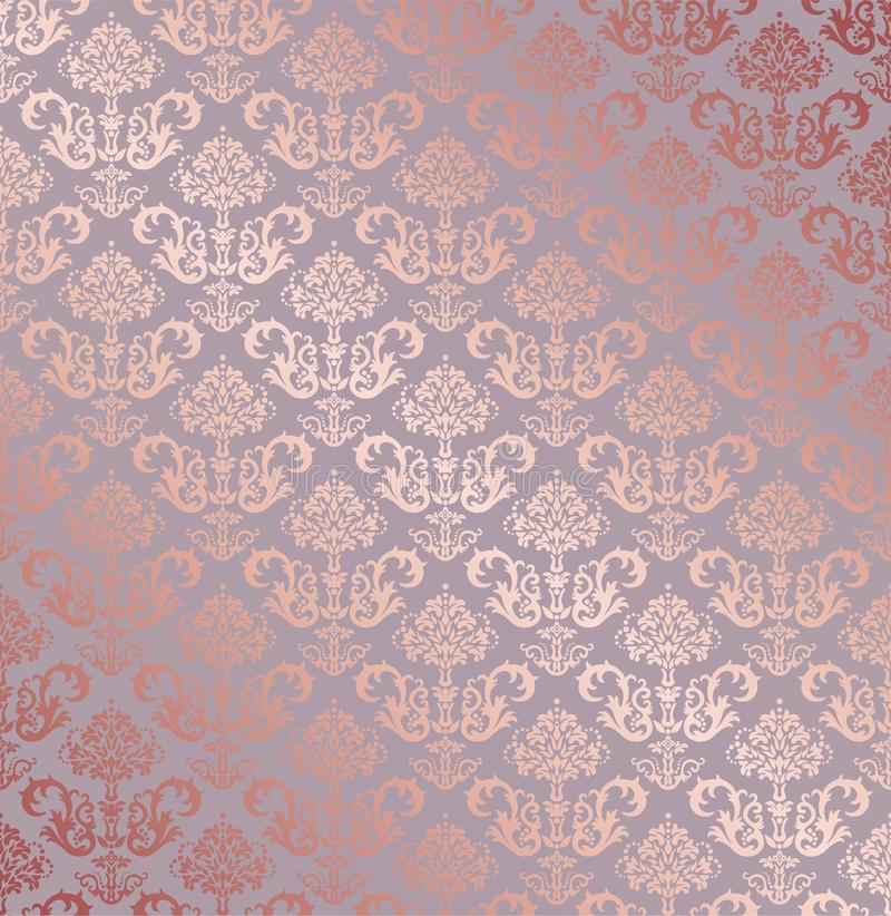 Seamless rose gold small floral elements wallpaper stock image
