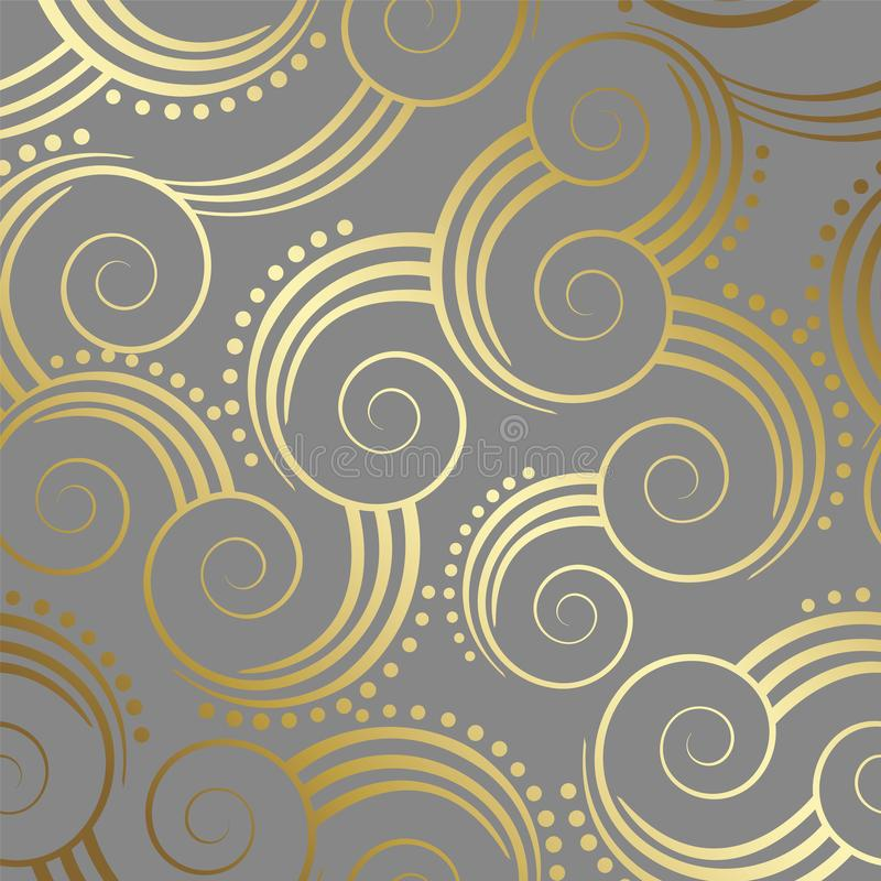 Seamless gold swirls pattern wallpaper on grey background stock images