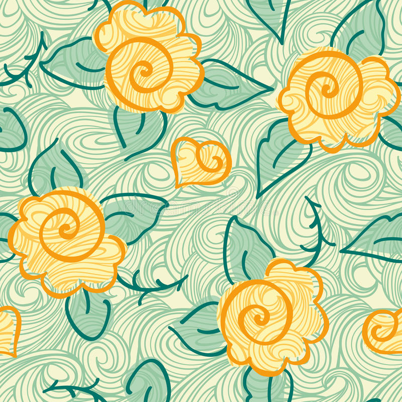 Download Seamless rose pattern stock illustration. Image of curly - 23488127