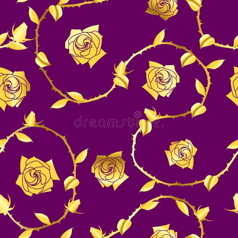 seamless rose sari för guldmodellpurple royaltyfri illustrationer