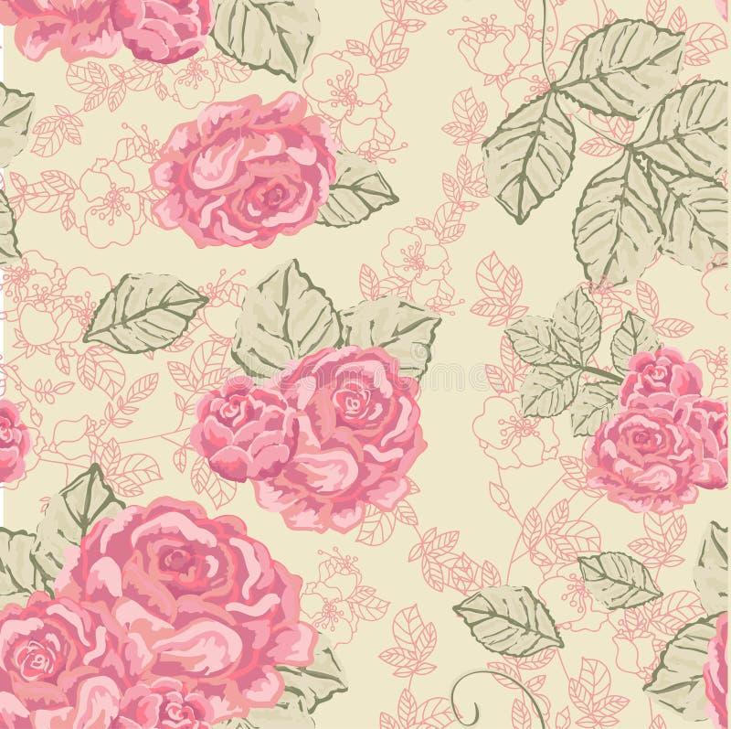 Seamless Rose tappningmodell stock illustrationer