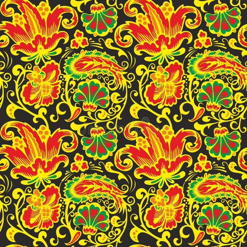 Seamless Russian pattern .Vintage Ornament vector. Russian style ornament engraving border floral retro pattern. Foliage swirl decorative design element stock illustration