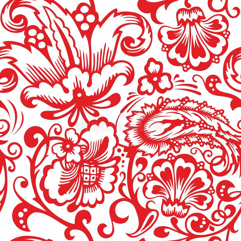 Seamless Russian pattern .Vintage Ornament vector. Russian style ornament engraving border floral retro pattern. Foliage swirl decorative design element vector illustration