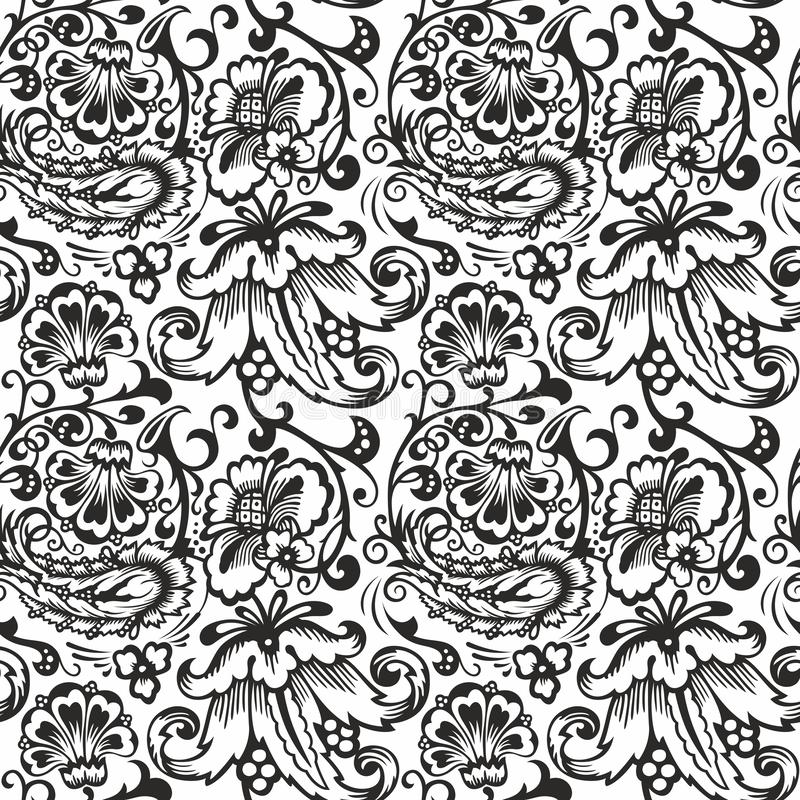 Seamless Russian pattern .Vintage Ornament vector. Russian style ornament engraving border floral retro pattern. Foliage swirl decorative design element royalty free illustration