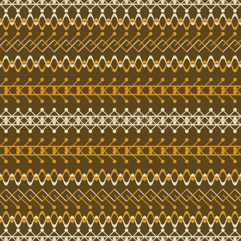 Seamless rustic pattern in brown and orange. Seamless geometric pattern in rustic style. Brown and orange colors vector illustration