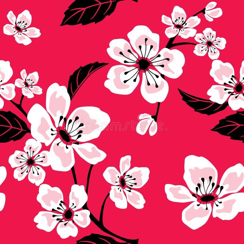 Seamless Sakura Pattern stock illustration