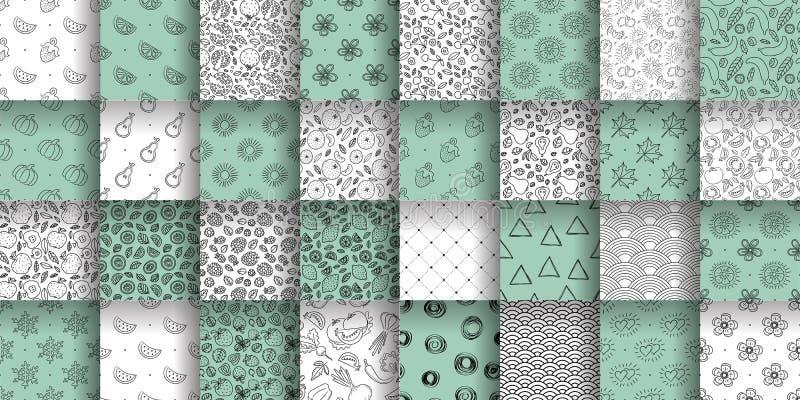 seamless samlingsmodell Uppsättning för färgvektorbakgrund Blom- frukt, abstrakt texturgrupp Hjärtor sol, våg, citron, stock illustrationer
