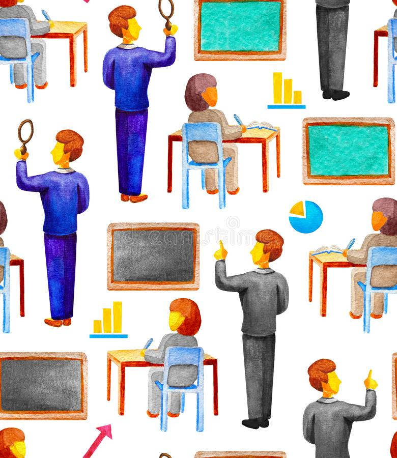 Seamless school educational pattern with teacher and student at a desk in watercolor style on a white background. Chalk board, royalty free illustration