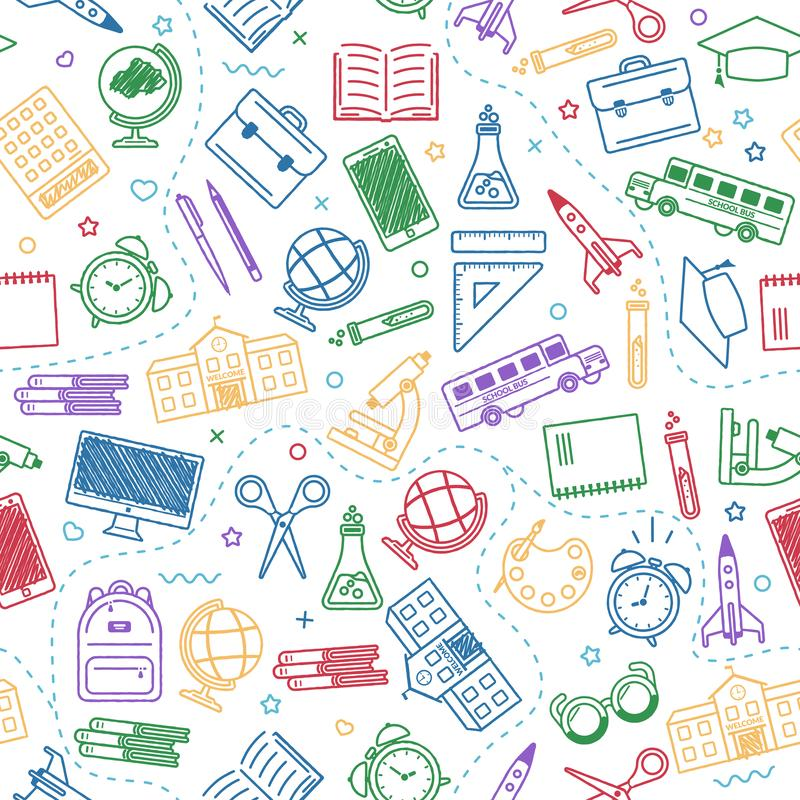 Seamless school pattern. Back to school. Coloroutline icons for education stock illustration
