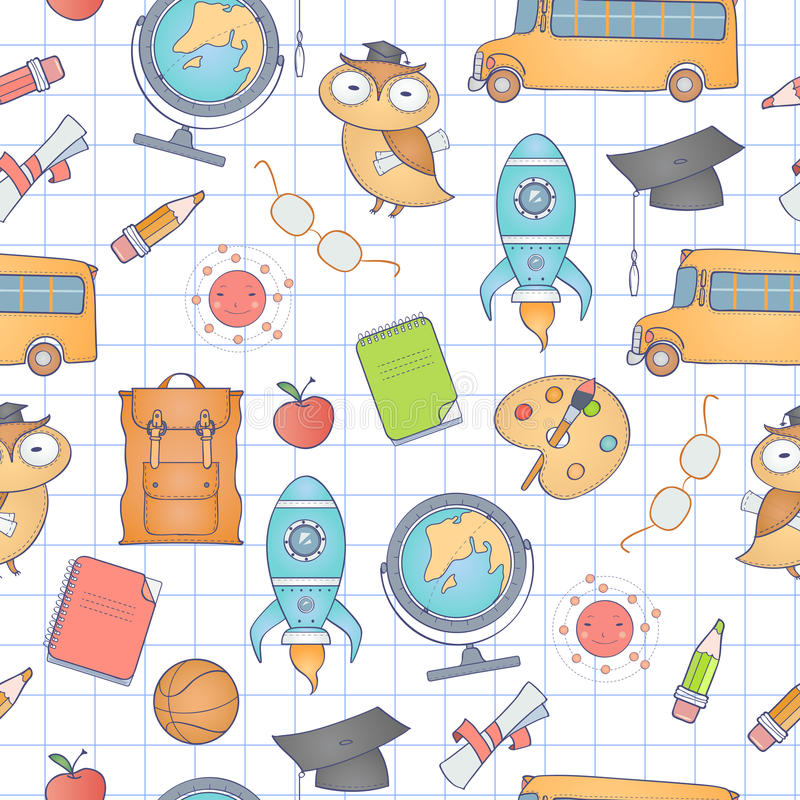 Seamless school pattern. Can be used for wallpaper, pattern fills, web page background stock illustration