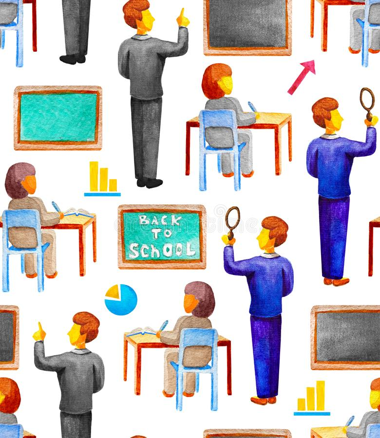 Seamless school pattern with the teacher shows on the blackboard and the student writing at the desk. Watercolor,white background vector illustration