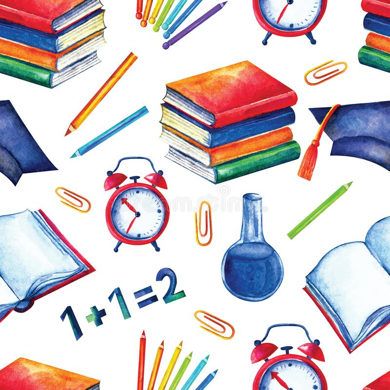 Seamless school pattern in watercolor. Books, textbooks, colored, pencils on a white background. Design for textiles, paper,. Wallpaper, packaging, banner vector illustration