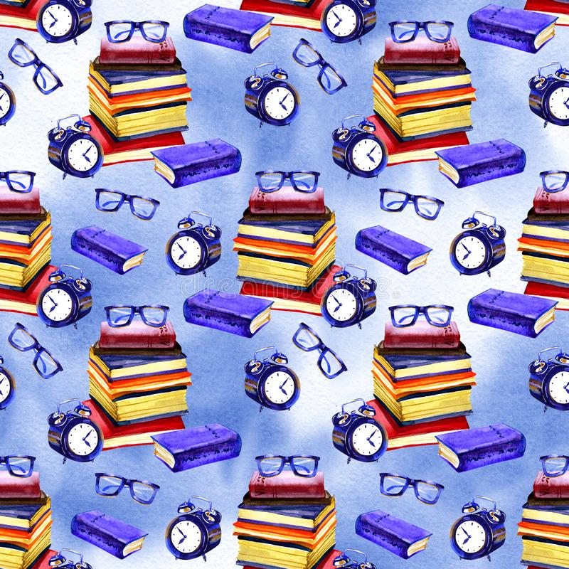 Seamless school pattern in watercolor. Books, textbooks. Design for textiles, paper, Wallpaper, packaging, banner. Postcard invitation fabric stock illustration