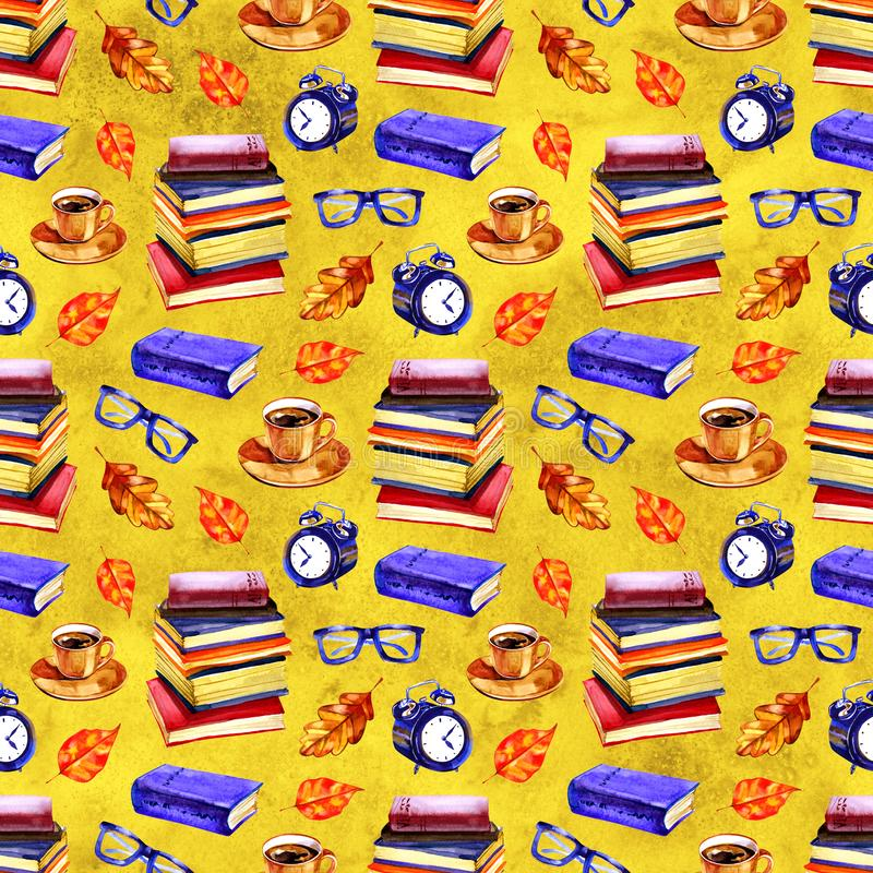 Seamless school pattern in watercolor. Books, textbooks. Design for textiles, paper, Wallpaper, packaging, banner. Postcard invitation fabric vector illustration