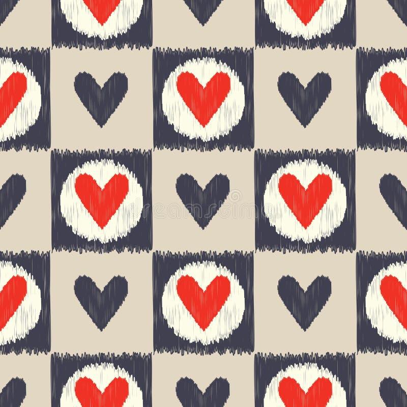 Seamless scribble geometric heart pattern vector illustration
