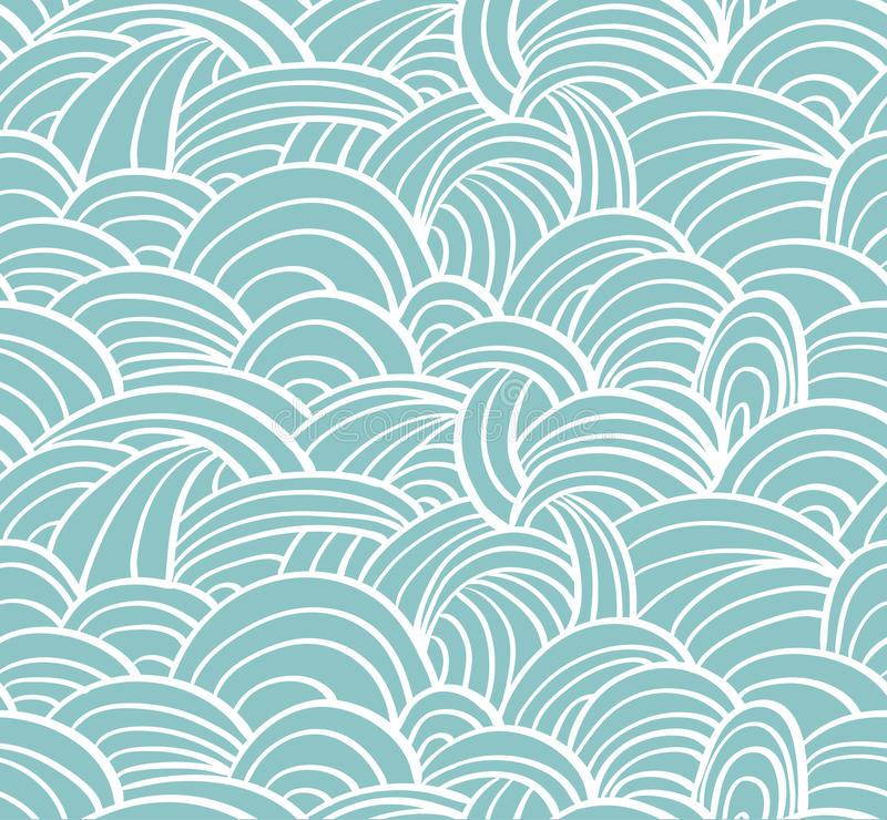 Seamless sea hand-drawn pattern, waves background. vector illustration