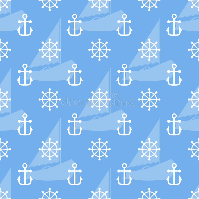 Seamless sea pattern of anchor, handweel and sailboat shape. Vector stock illustration