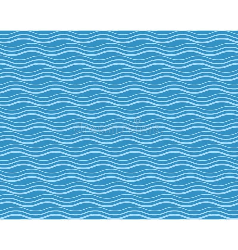 Seamless sea pattern. Cyan waves on blue stock illustration
