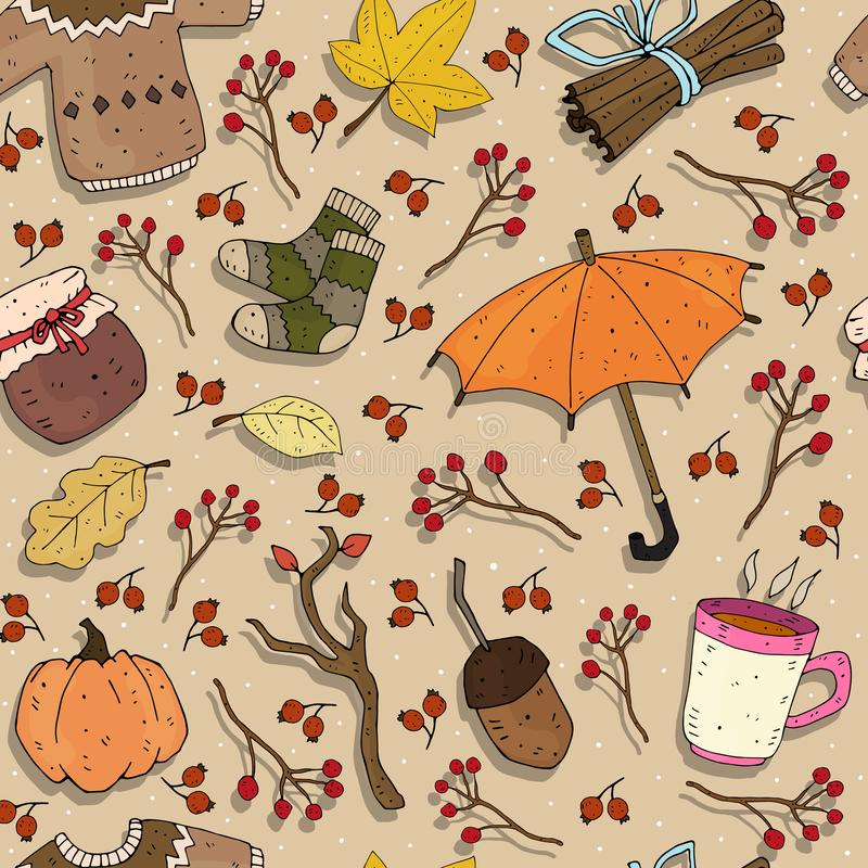 Seamless seasonal autumn vector pattern with theme elements on a neutral background. stock illustration