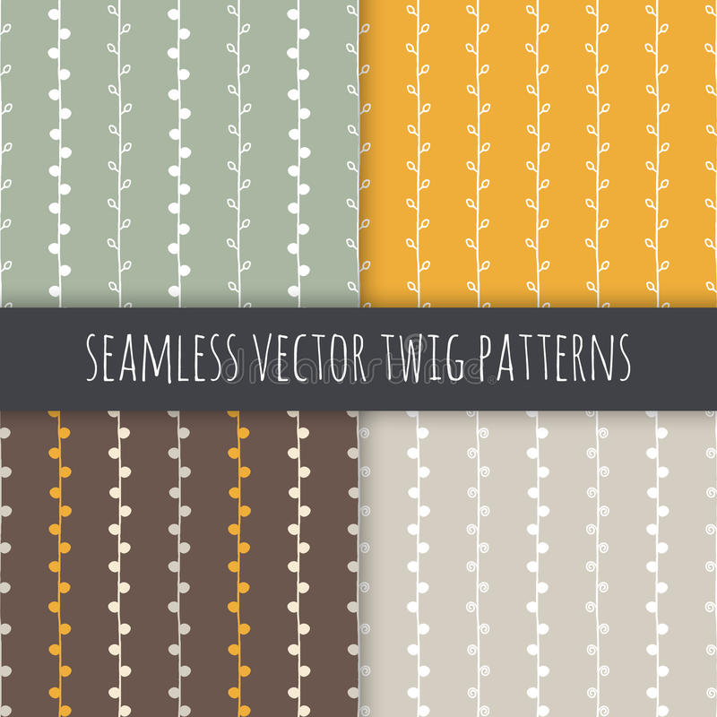 Seamless seasonal vector patterns set. White twigs on green yellow brown grey background. Seamless seasonal vector patterns set. Twigs on green yellow brown vector illustration