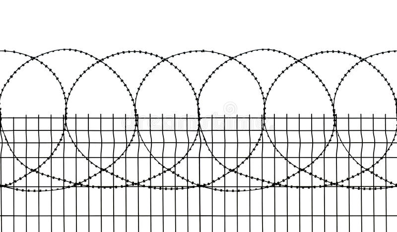 Seamless security fence. Isolated and seamless photo of a security fence with sharp edged wires. It perfectly fits horizontally. Png format with transparency is royalty free stock photo