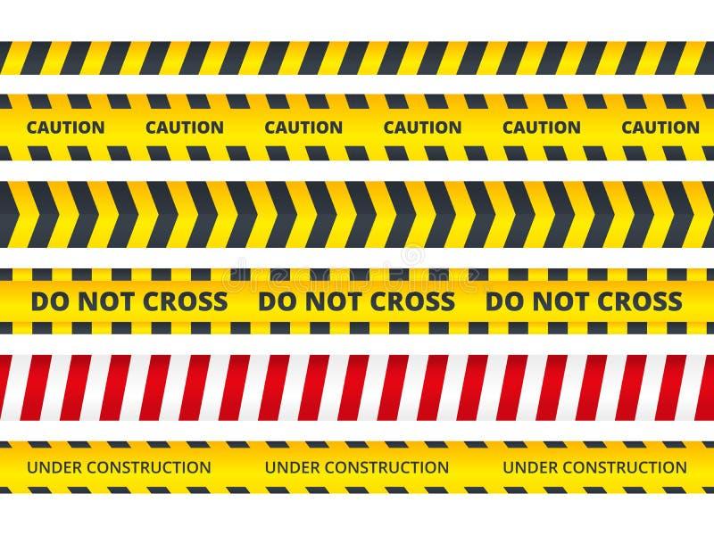 Seamless security stripe. Safety danger signs do not enter danger message police crime scene vector symbols royalty free illustration