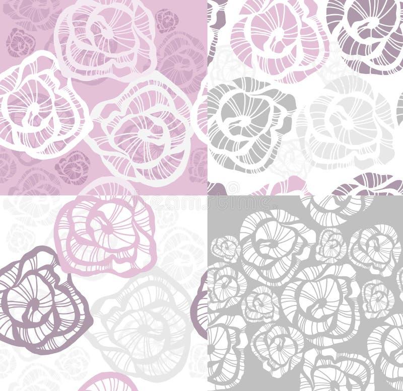 seamless set för abstrakt blommamodellrose royaltyfri illustrationer