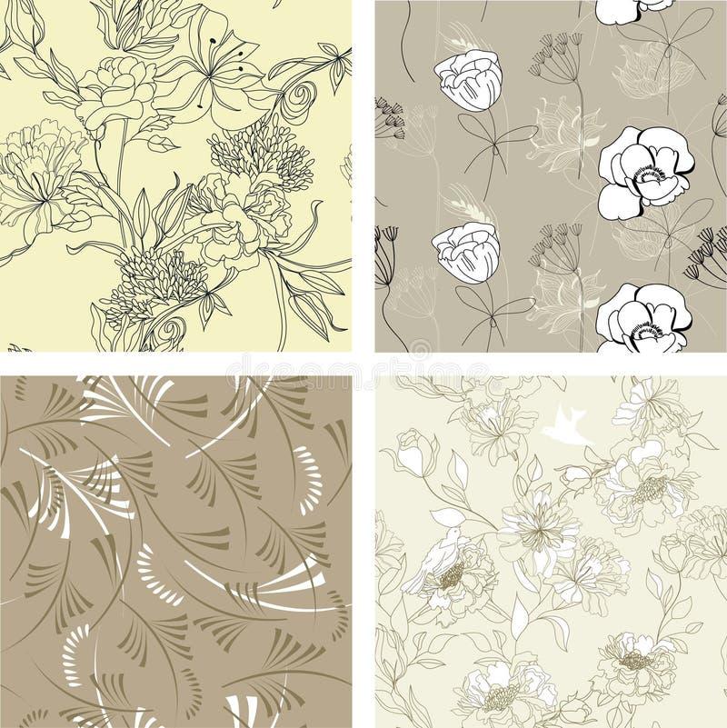 seamless set för blom- modell 7 stock illustrationer