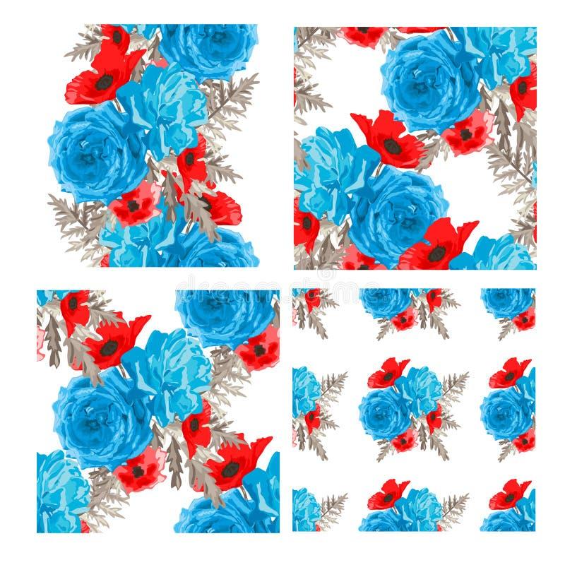seamless set för blom- modeller royaltyfri illustrationer