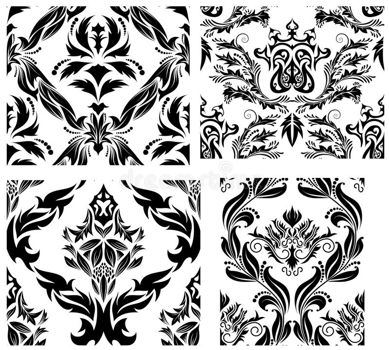seamless set för damastast modeller stock illustrationer