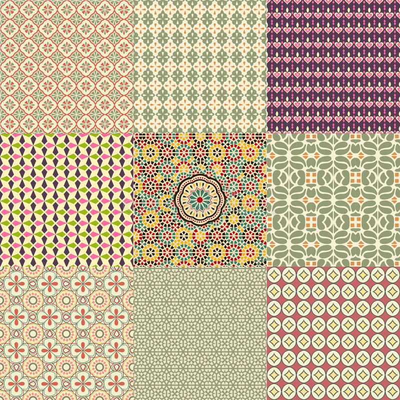 seamless set för färgrik modell royaltyfri illustrationer