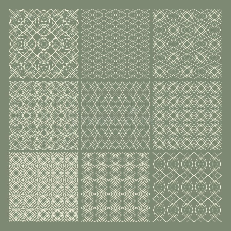 seamless set för 9 modeller stock illustrationer