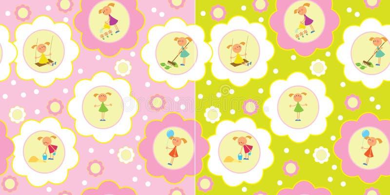 Seamless Set Of Girls Royalty Free Stock Photos