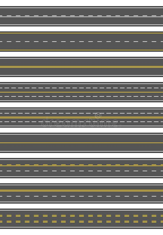 Seamless set of nine different road marking. Top view of horizontal straight asphalt roads. Templates with different stock illustration