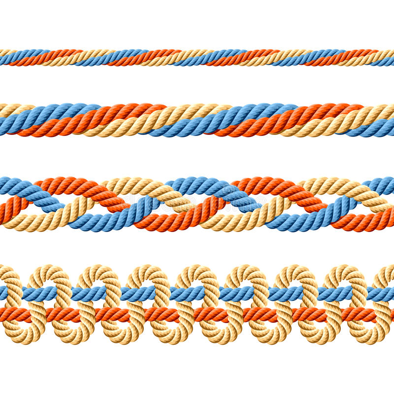Seamless set of rope elements. Vector illustration of seamless set of rope elements stock illustration