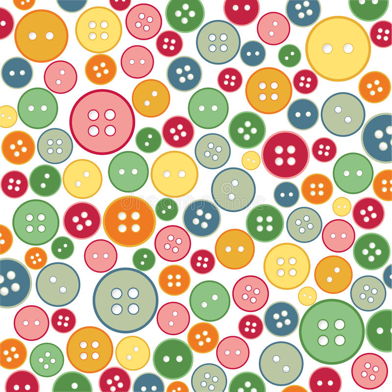 Seamless sewing buttons colorful pattern vector illustration