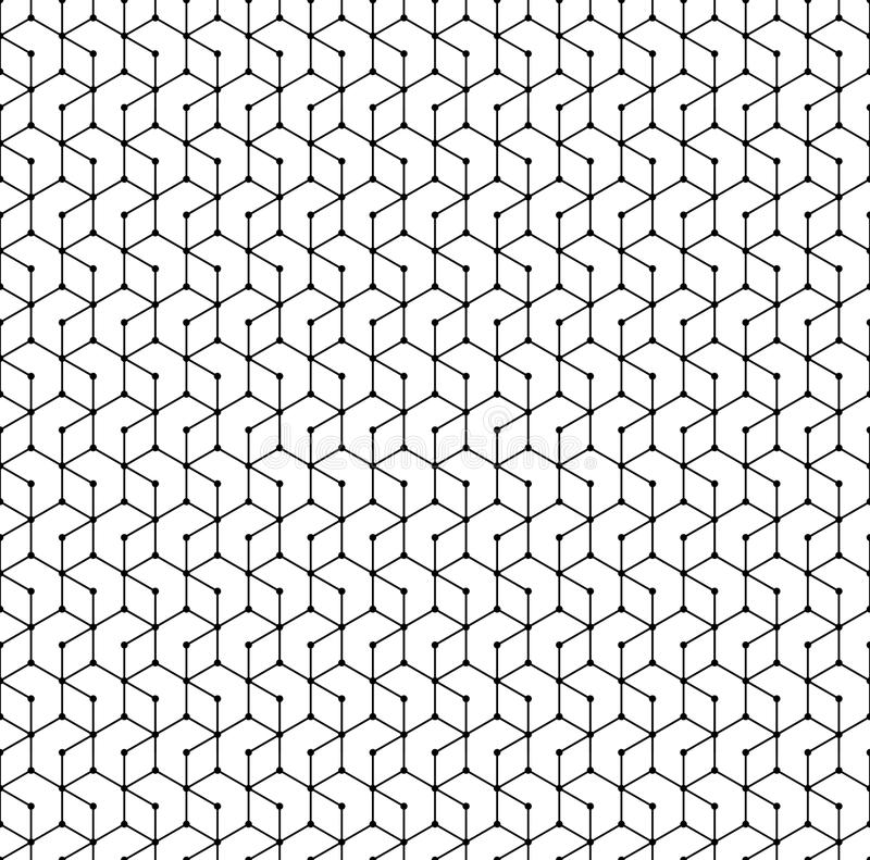 seamless sexhörningsmodell Monokromt geometriskt prucken ändlös vektortextur för polygon raster vektor illustrationer