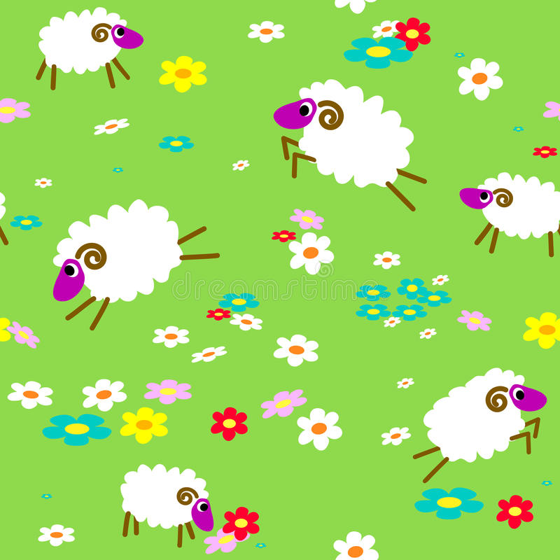 Download Seamless With Sheep In Meadow Stock Vector - Image: 22591966