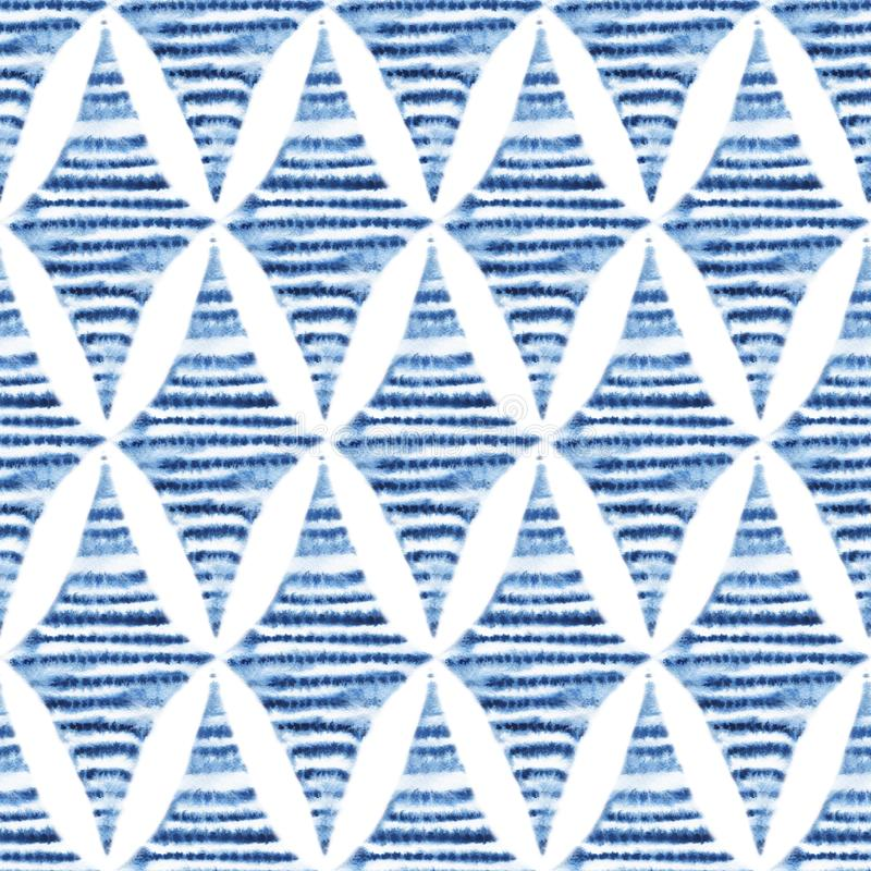 Seamless shibori pattern, tie-dye ornament. Blue watercolor rhombus on a white background. Handmade. Vintage print for textiles. stock illustration