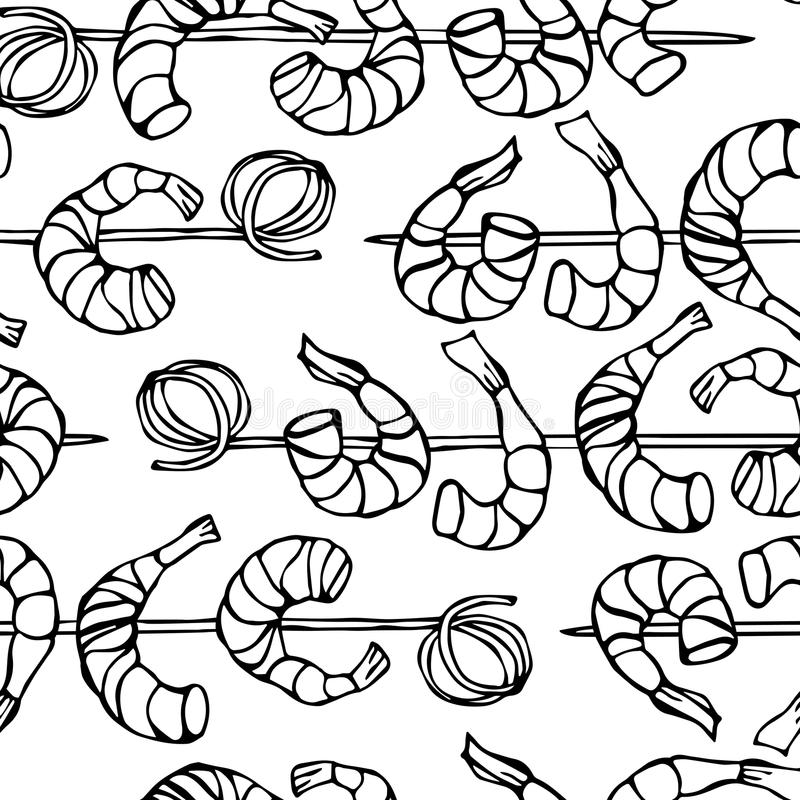 Seamless Shrimp on Wood Stick, Prawn Kebab, Seafood BBQ, Canapes. Isolated On a White Background Doodle Cartoon Vintage. Isolated On a White Background Doodle royalty free illustration