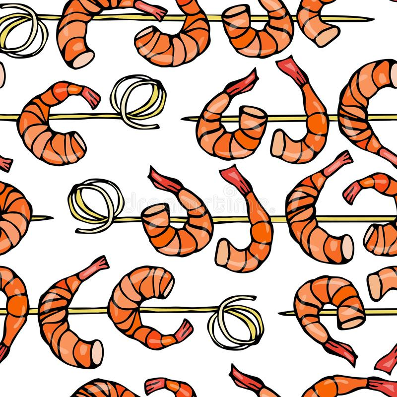 Seamless Shrimp on Wood Stick, Prawn Kebab, Seafood BBQ, Canapes. Isolated On a White Background Doodle Cartoon Vintage. Isolated On a White Background Doodle vector illustration
