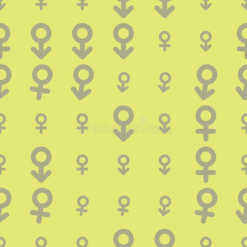 Seamless sign of male or female abstract hand drawn background, texture or backdrop. Pattern, surface, wallpaper & concept. Seamless sign of male or female stock illustration