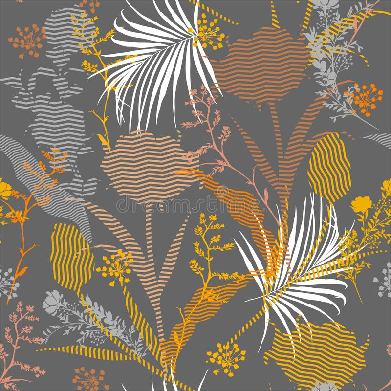 Seamless silhouette of botanical plants and florals fill in with zigzag striped Pattern on colorful garden mood  Print in vector. Design for faashion,fabric,web vector illustration