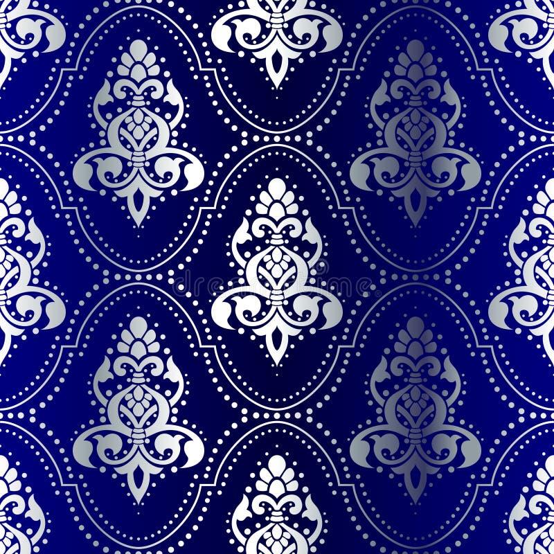 seamless silver för blå modell för prickar indisk stock illustrationer