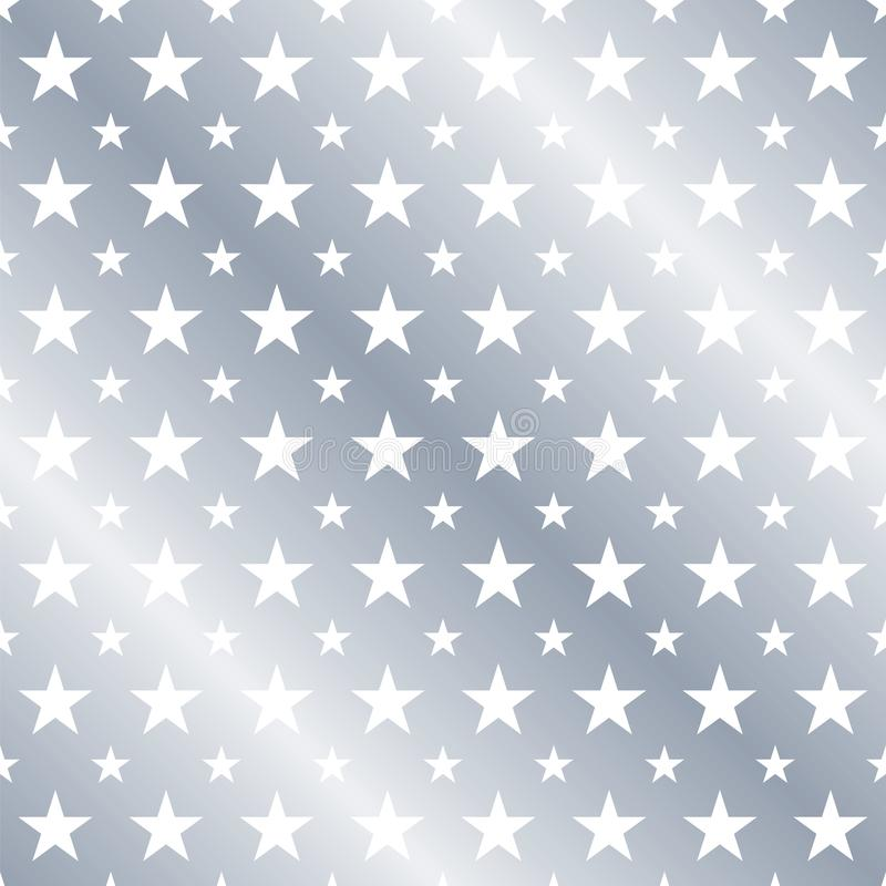 Seamless Silver Star Pattern Background. royalty free illustration
