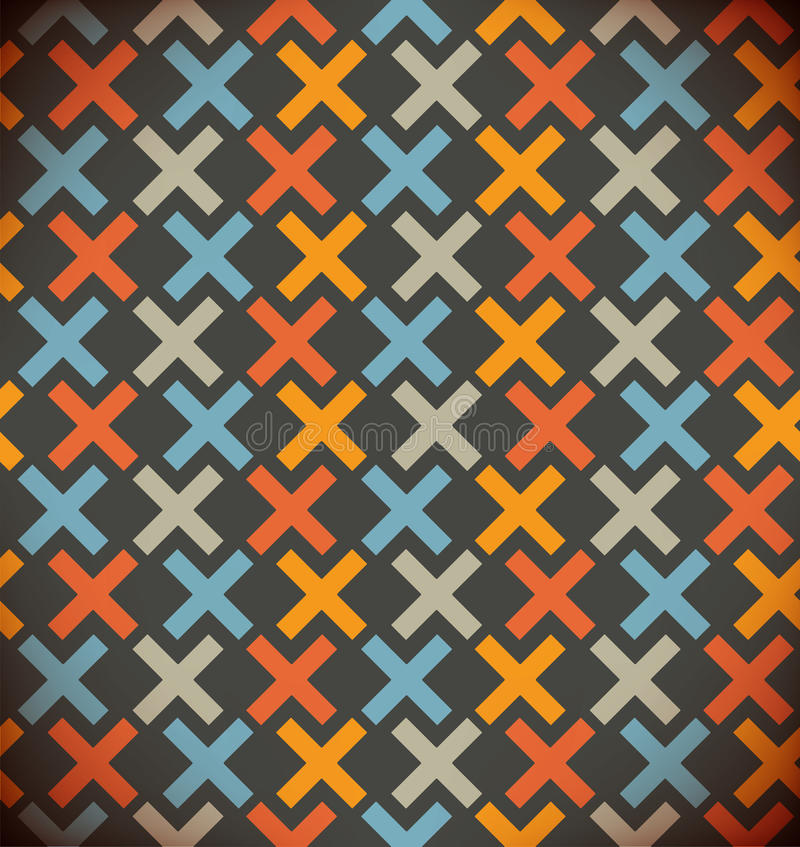 Seamless simple geometrical background. Chequered colorful pattern. Embroidered decorative backdrop. Seamless simple geometrical background. Chequered colorful vector illustration