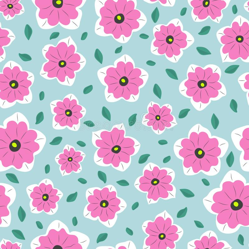 Seamless simple pattern. Minimal style. Pink flowers and green leaves stock illustration