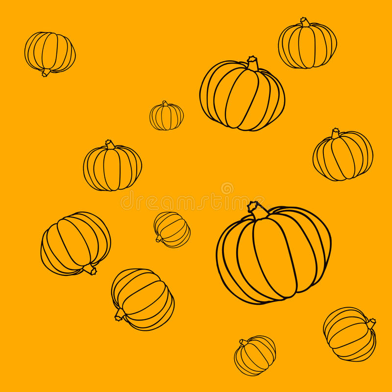 Seamless simple pattern with pumpkins on the orange background stock photos